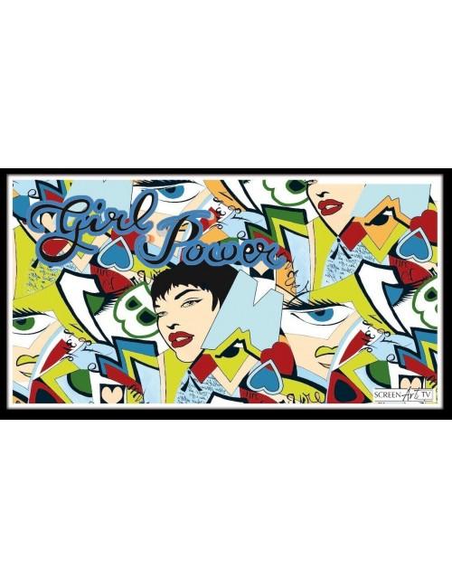 88 1-GIRL POWER EN POP ART BLEU