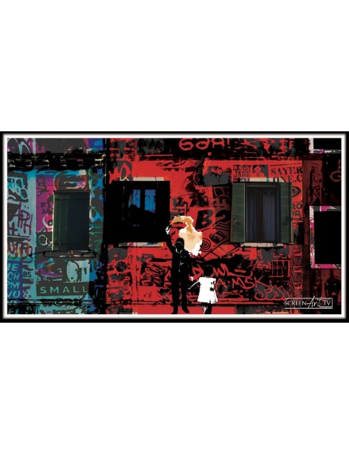 318 1-SILHOUETTE SUR STREET ART ROUGE